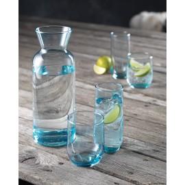 Blå glasserie 1 vandkaraffel + 4 høje vandglas el. 4 lave vandglas