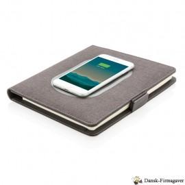 Notesbog i A5-format med trådløs opladning, s