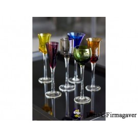 Lyngby´s farvestrålende snapseglas  6 stk DK17