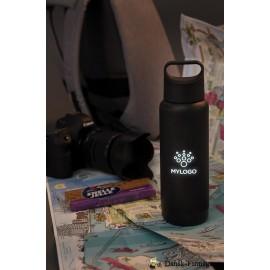 Tætsluttende logoflaske med lys, sort