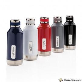 Leakproof vakuum flaske med logo plade