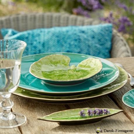 Costa Nova Riviera tallerken åkandeblad + hortensia grøn