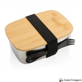 """Rustfrit stål madkasse med bambuslåg og """"spork"""""""