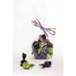 Cellofanpose med bånd og chokoladenougattoppemix