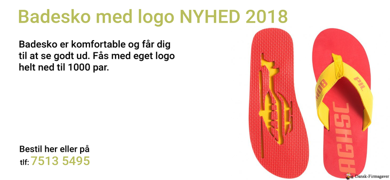 Badesko med logo NYHED 2018